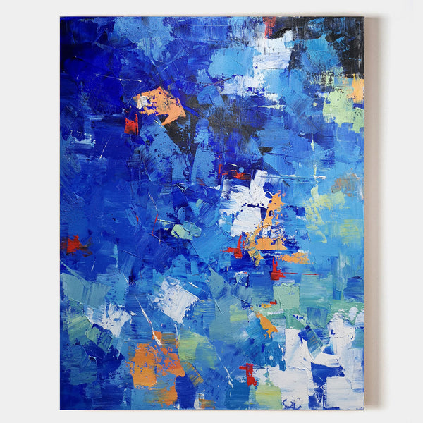 36 x 48 Navy Blue Wall Art Bright Coloured Artwork Multicolor Wall Painting