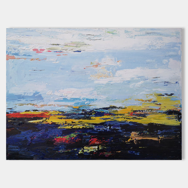 36 X 48 Horizontal Blue Abstract Landscape Art Abstract Seascape Paintings