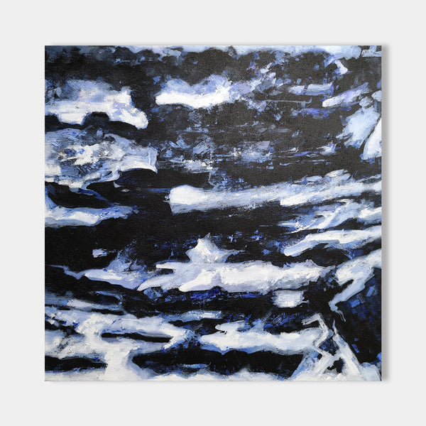 40 x 40 Dark Blue Wall Art Abstract Black And Blue Paintings For Sale