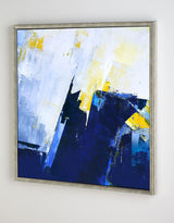 Original Blue And Yellow Abstract Art Extra Large Abstract Squares  Canvas Painting