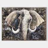 Elephant Wall Art African Elephant Paintings On Canvas Large Elephant Painting