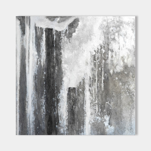 Square Grey Abstract Canvas Art Bedroom Canvas Art Living Room Canvas
