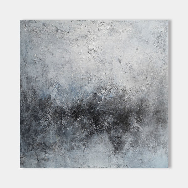 40 x 40 light Blue And Black Modern Abstract landscape Art On Canvas