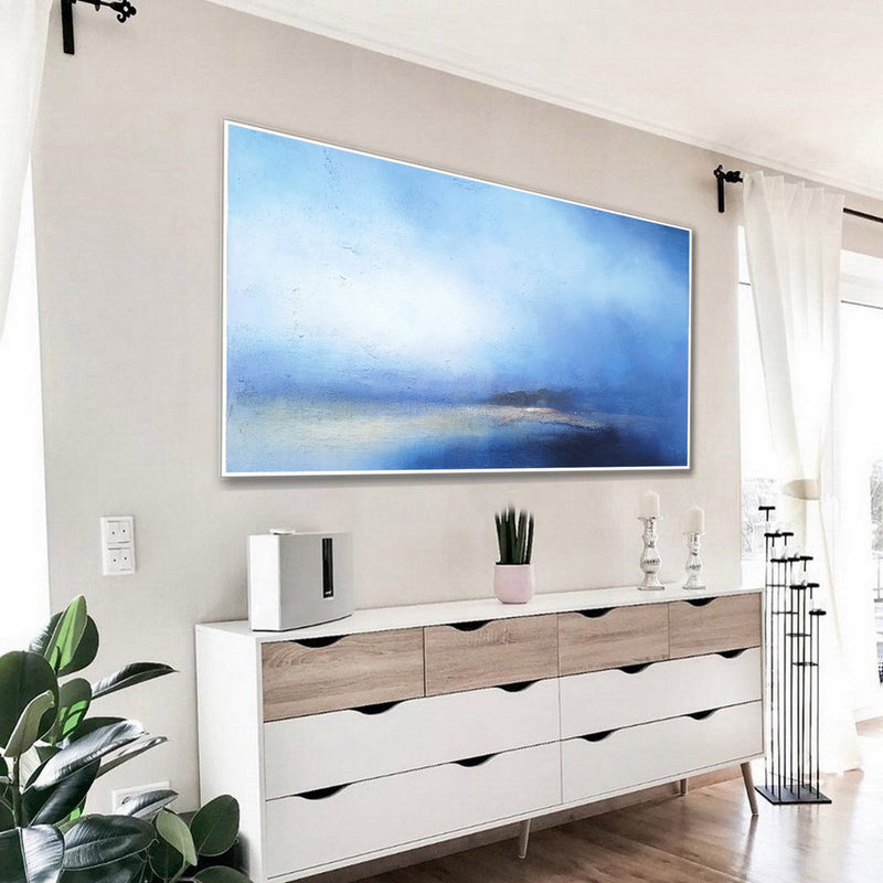 Large Beach Canvas Wall Art Panoramic Blue Ocean painting Acrylic Blue Sky Paintings Blue Wall Art For Living Room