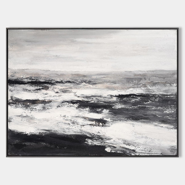 Black And White Beach Wall Art Abstract Ocean Art Beach Scene Painting