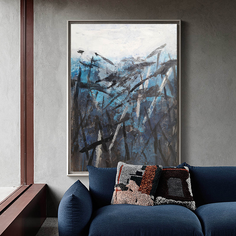 Blue And Black Abstract Painting Blue Canvas Painting Oversized Canvas Art Contemporary Abstract Painting Large Canvas Art For Living Room