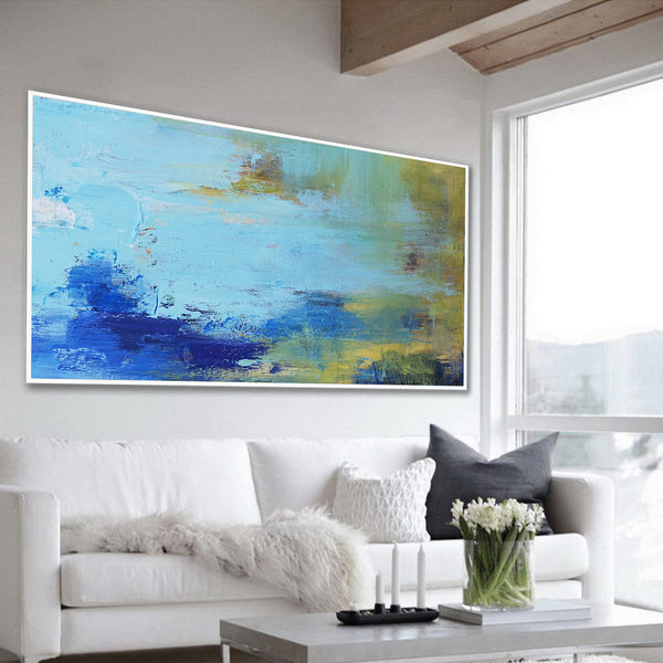 Abstract Seascape Paintings Acrylic Large Seascape Wall Art Beach Canvas Art Panoramic Abstract Painting For Livingroom