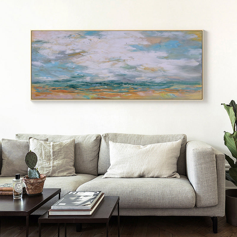 Large Beach Scene Painting On Canvas Impressionist Seascapes Panoramic Wall Painting For Livingroom