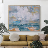 Large Abstract Ocean Canvas Painting Acrylic Oversized Horizontal Wall Art
