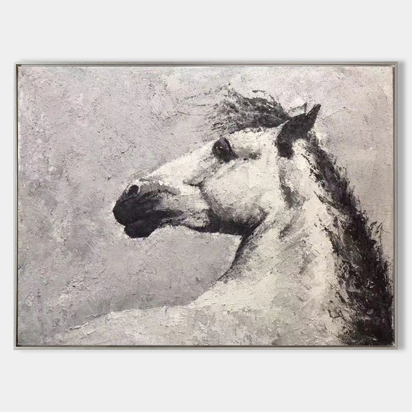 Horse Acrylic Painting White Horse Art Framed Horse Art Horse Portrait Painting