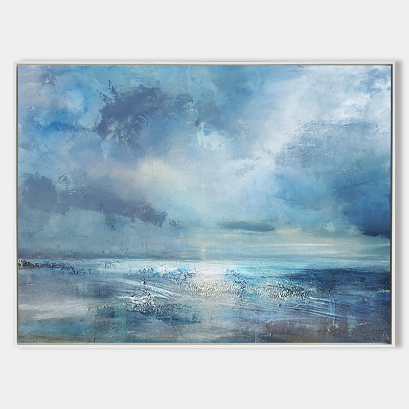 Abstract Beach Canvas Art Impressionist Seascape Paintings Large Beach Canvas Wall Art
