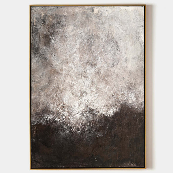 Brown Abstract Painting Grey Wall Paintings Oversized Abstract Canvas Painting Minimalist Abstract Art Large Modern Painting For Living Room