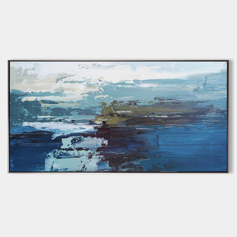 Panoramic Blue Ocean painting Acrylic Large Coastal Wall Art Canvas Impressionist Seascapes Contemporary Ocean Art