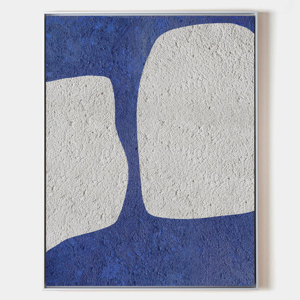 Large Abstract Wall Art Modern Art Minimalist Painting Blue And White Wall Art