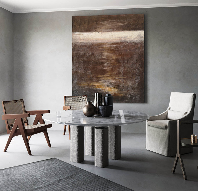 Abstract Ocean Painting Brown Abstract Wall Painting Ocean Acrylic Painting Vertical Canvas Art