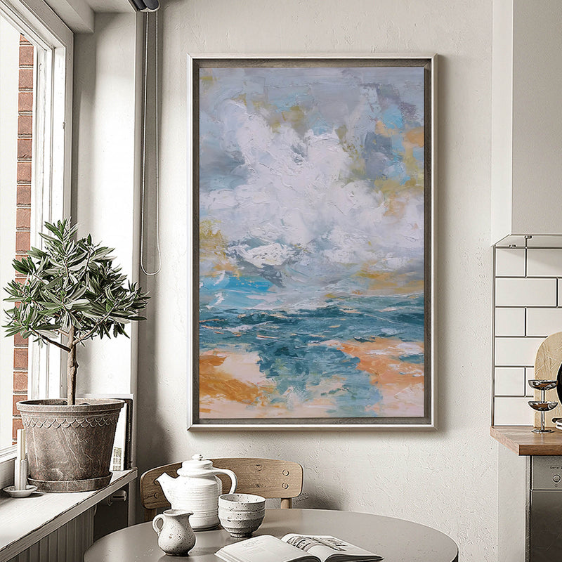 Vertical Modern Beach Canvas Painting Abstract Ocean Painting Large Beach Artwork For Living Room