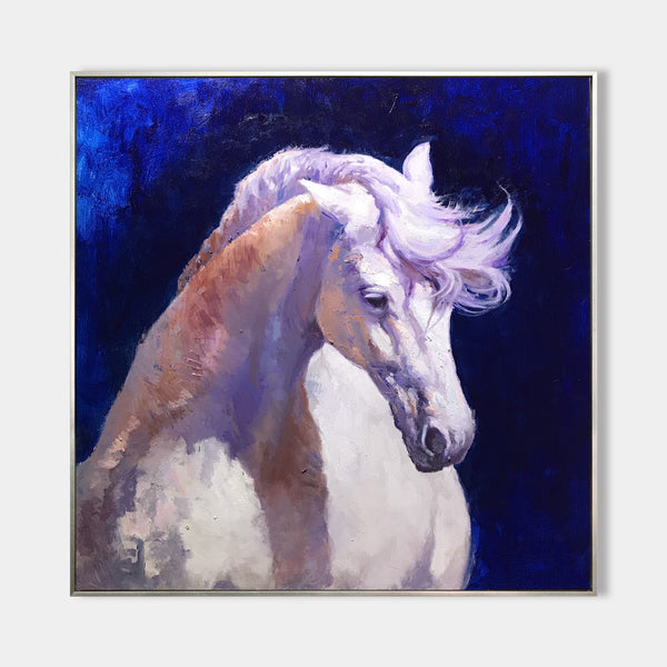 Large White Horse Painting On Canvas Big Horse Wall Art Modern Horse Art