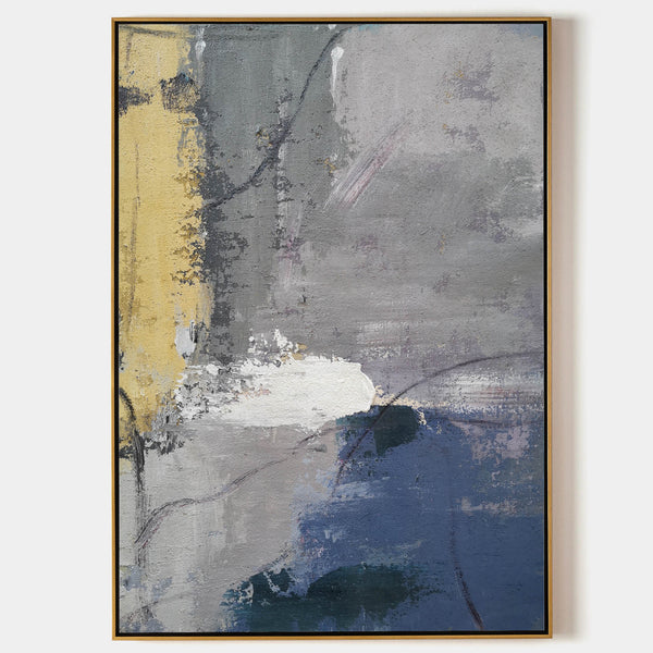 Large Blue Abstract Painting On Canvas Grey And Blue Abstract Artwork Gray And Yellow Canvas Art Oversized Modern Paintings For Living Room