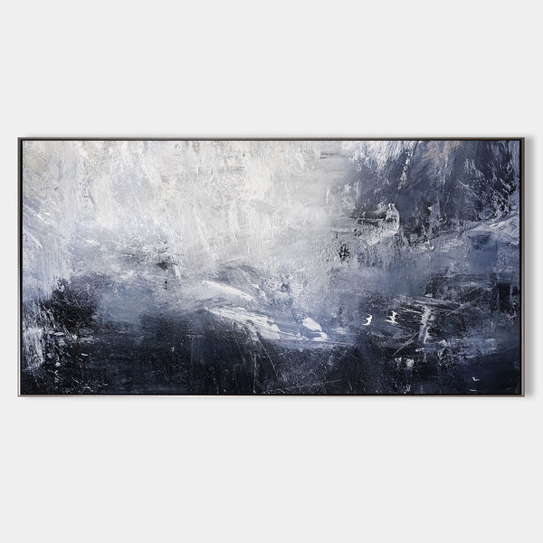Blue And White Abstract Art Large Panoramic Wall Art Huge Canvas Art