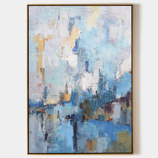 Abstract Seascape Painting Beach Canvas Art Textured Acrylic Painting