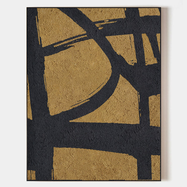 Buy Abstract Minimalist Painting Black And Gold Artwork Art For Living Room