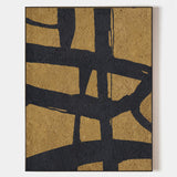 Contemporary Minimalist Art Black And Gold Wall Art Abstract Canvas Art