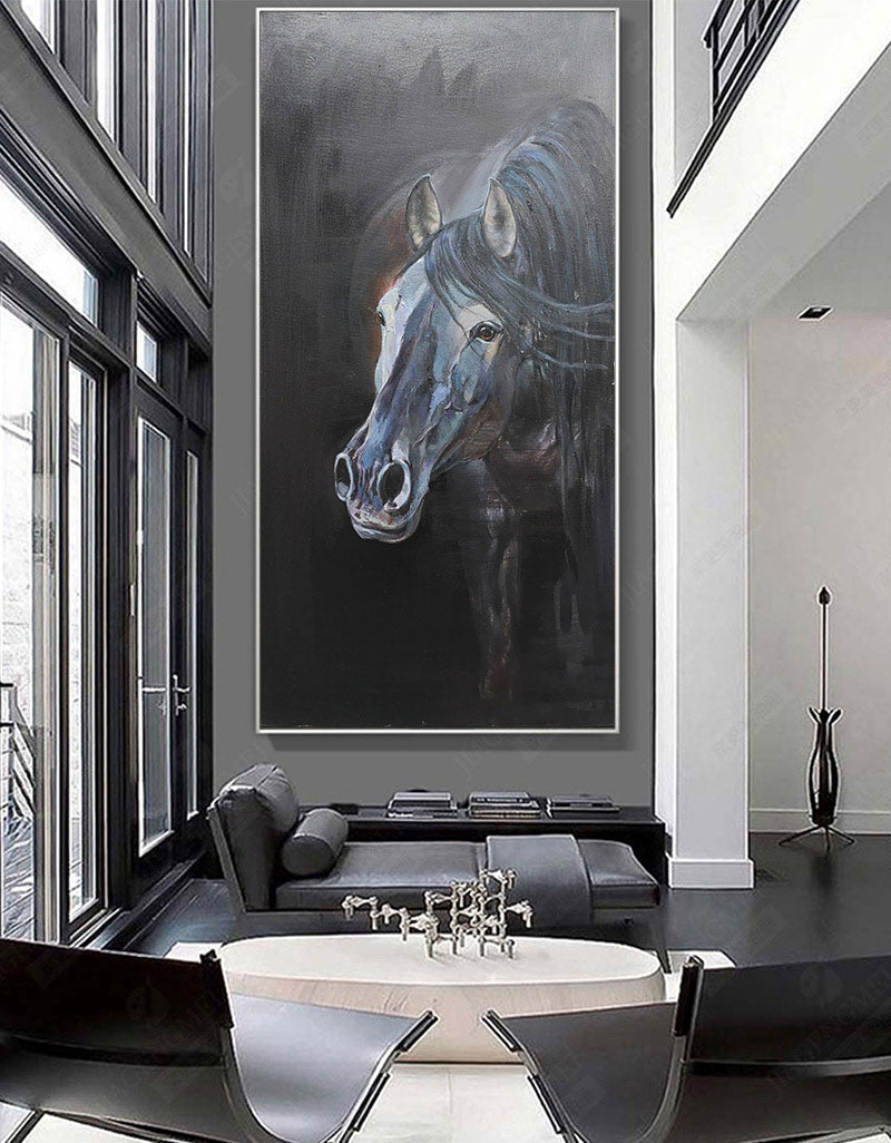 Large Black Arabian Horse Paintings Equestrian Painting Framed Horse Wall Art
