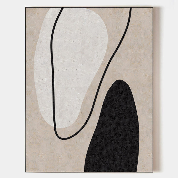 Minimalist Painting On Canvas Large Canvas Abstract Art Beige Black White Art