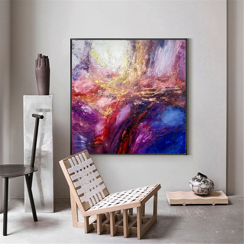 Pink And Blue Wall Art Purple And Gold Abstract Art Colorful Canvas Art