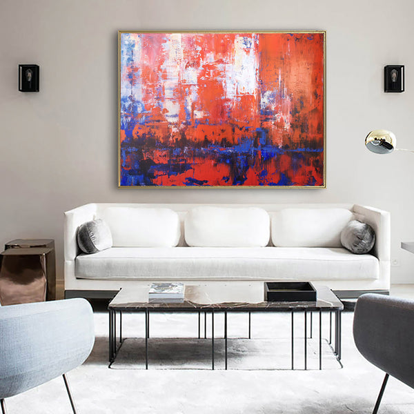 36 x 48 Red And Blue Wall Art Horizontal Abstract Art Palette Knife Art