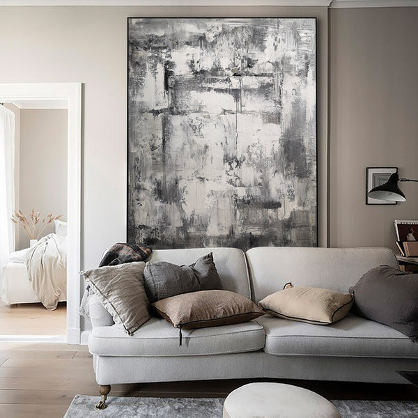 36 x 48 Vertical Grey Abstract Art Canvas Painting For Living Room