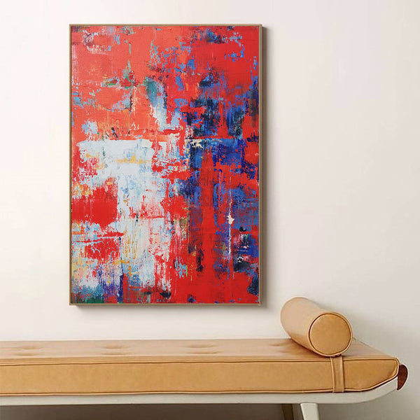 Red Abstract Painting Oversized Abstract Canvas Art Textured Abstract Painting Modern Abstract Painting Large Canvas Art For Living Room