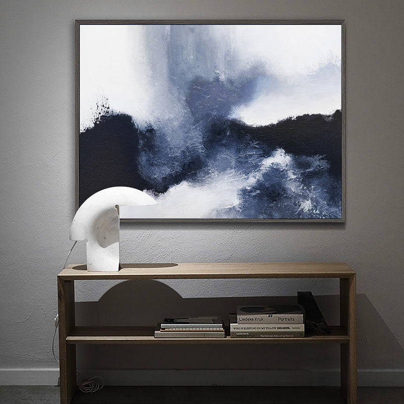 Blue White Abstract Landscape Painting Extra Large textured abstract art