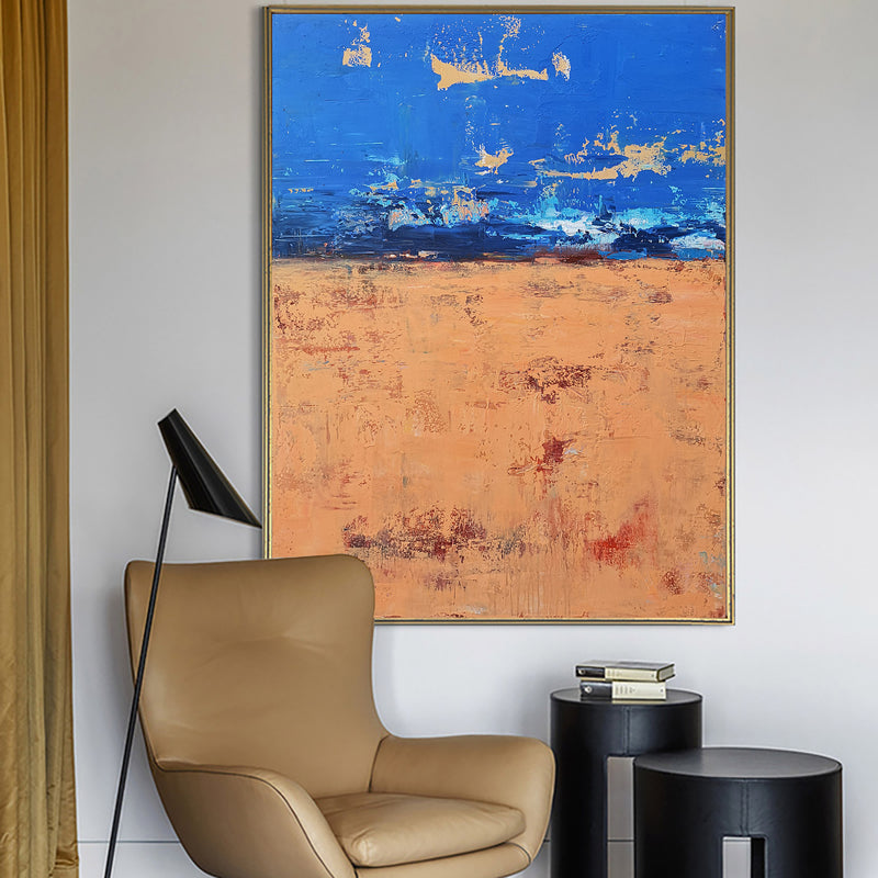 36X48 Original Abstract Canvas Art Blue And Brown Wall Art For Living Room