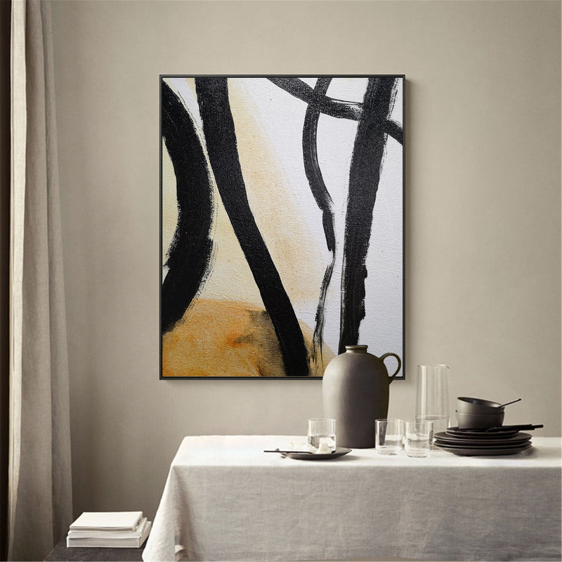 Black And White Minimalist Painting Minimal Line Art Painting Large Vertical Wall Art