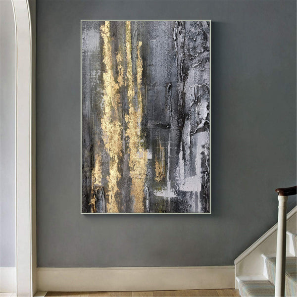 Big Grey And Gold Artwork Oversized Framed Wall Art X Large Wall Art