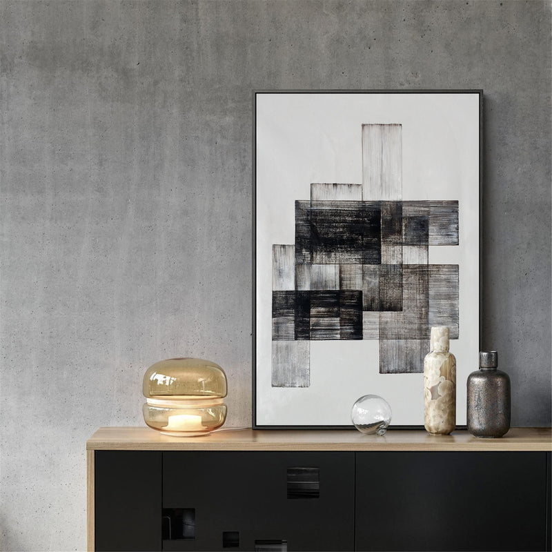 Acrylic Geometric Painting Modern Abstract Minimalist Art Black White
