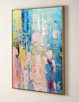 Extra Large Vertical Pink And Blue Abstract Art Textured Colorful Canvas Wall Art