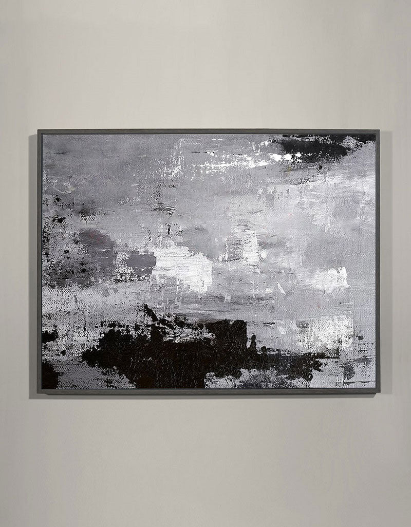 Black White And Grey Abstract Art Large Modern Gray abstract Canvas Art
