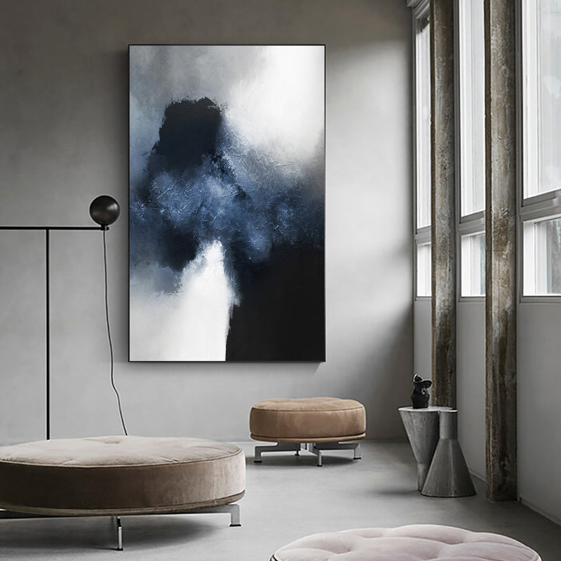 Oversized Navy Blue Abstract Painting Dark Blue Wall Art For Living Room