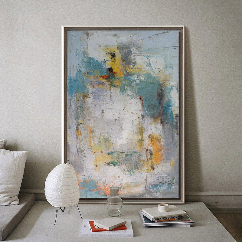 Large Vertical Contemporary Wall Art Oversized Abstract Art Yellow Green Art