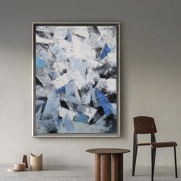 36 X48 Canvas Blue Grey Abstract Geometric Painting Palette Knife Abstract Painting On Canvas