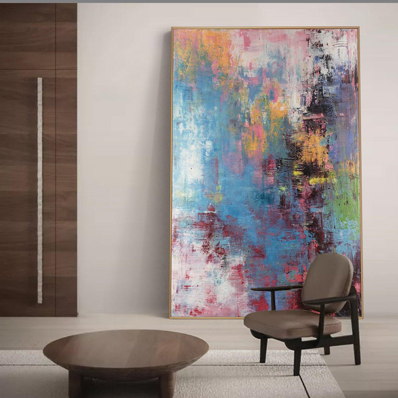 Bright Coloured Paintings Art Big Wall Canvas Pink And Blue Abstract