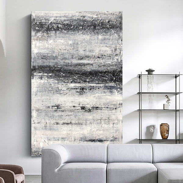 Large Vertical Black And White Abstract Beach Painting Modern Textured Art For Living Room