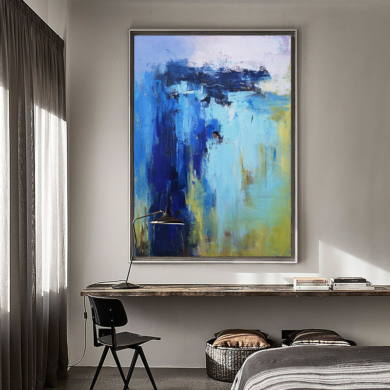 Acrylic Abstract Beach Painting On Canvas Large Abstract Coastal Canvas Art For Living Room
