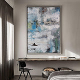 Blue And Green Abstract Art Contemporary Canvas Paintings Huge Wall Art