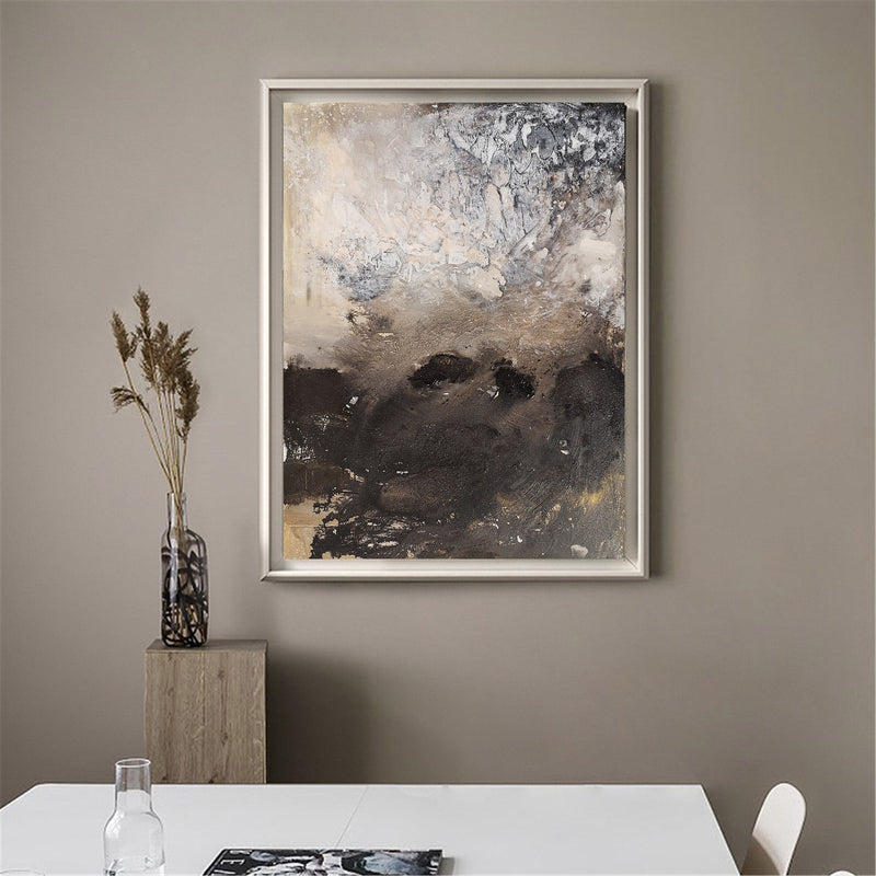 Brown Abstract Art Modern Abstract Extra Large Vertical Wall Art Framed
