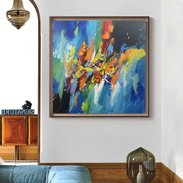 Abstract Wall Decor Contemporary Canvas Art Multicolor Painting For Home 40 x 40