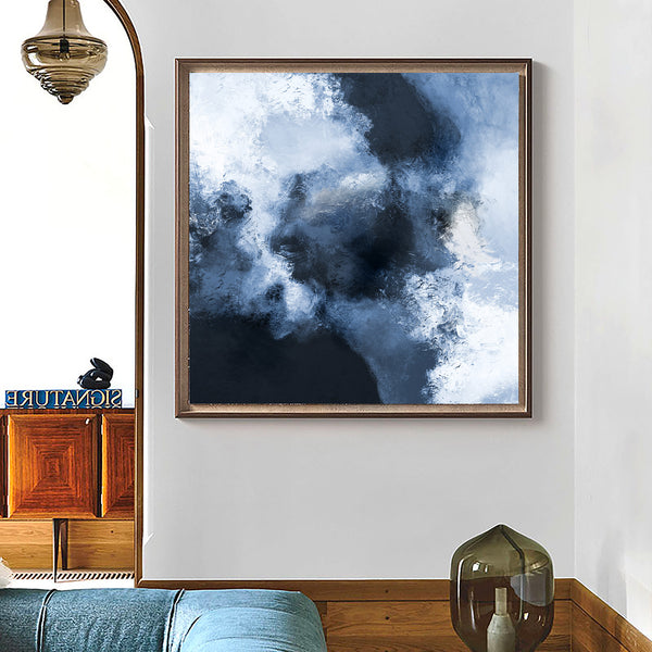 Blue Abstract Art Large Square Blue Wall Art Oversize Canvas Art Textured