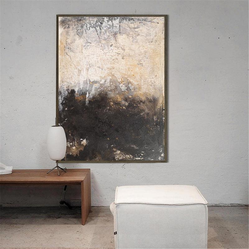 Vertical Gold And Brown Abstract Art Huge Wall Art Oversized Canvas Art